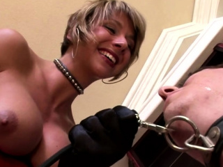 Bigtitted blonde playing with her slave