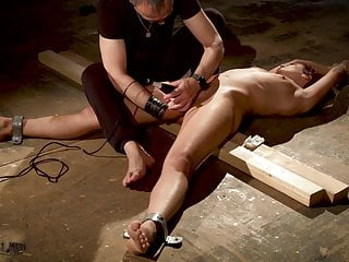 Tied up slave made to orgasm in bondage sex