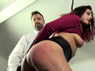 Tied up submissive slut gets facialized