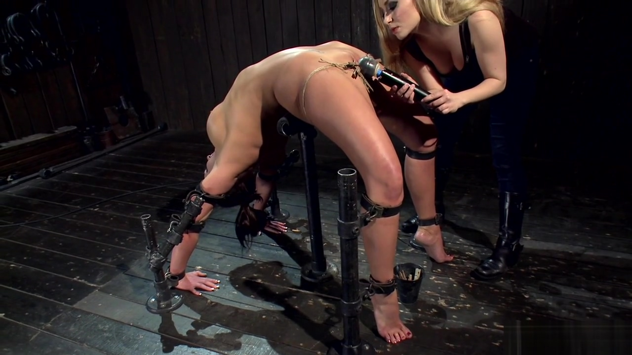 Busty sub is vibed in backbend bondage