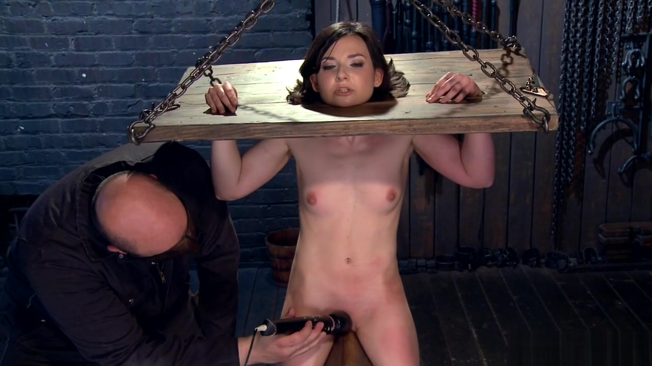 Brunette slave finger fucked on the floor