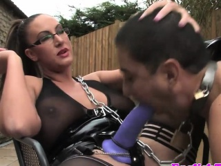 Busty spex dom analizes sub scum with strapon