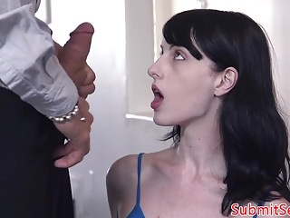 Doggystyled sub fuck in the ass after blowjob
