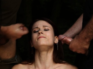 Dominated sub babes facialized outdoors