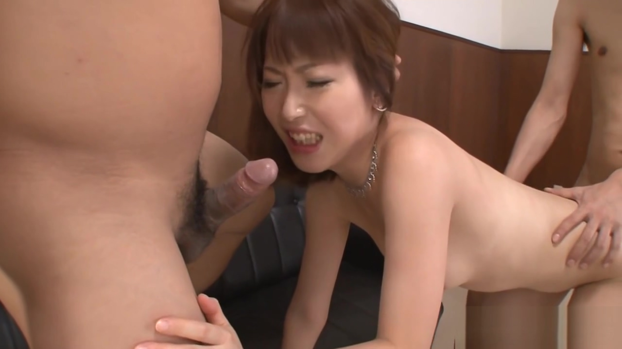Threesome with cute asian pet slave